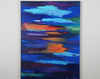 Abstract Sunset Painting // Acrylic Painting // Colorful Painting // Clouds and Sky Painting