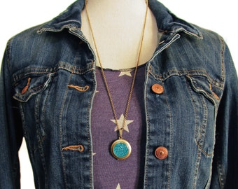 Glitter Locket- Turquoise Blue Bling Glitter Locket Necklace