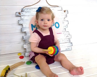 Baby Romper | Linen romper | Purple Romper Newbor | Pink Romper for Girls' | Linen Baby Romper eco style | Linen children Clothing | Newbor