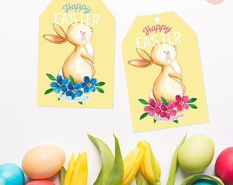 Happy Easter Tags, personalized easter tags, printable easter tags, bunny tags, gift tags