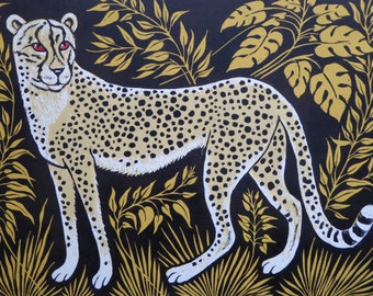 Spotty Cheetah card,Cheetah card,Spotty Cheetah Lino print card,African Leaves,Story card,Animal card,Children's card,Adult card