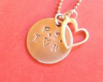 P.S. I love you  stainless steel necklace with heart charm