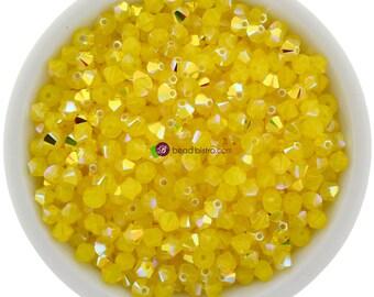 Yellow Opal AB (4mm) Swarovski Crystal 5328 Xilion Bicones