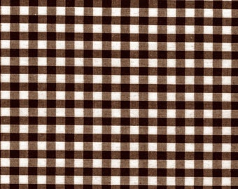 Carly BROWN Mini Checkered Gingham Poly Cotton Fabric by the Yard - 10114