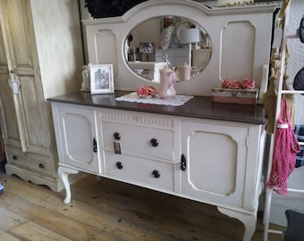 REDUCED PRICE - Vintage painted big Sideboard with back Mirror.