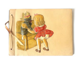 Soft Pink Leather Scrapbook or Photo Album with Little Girl Dressing up her Cat