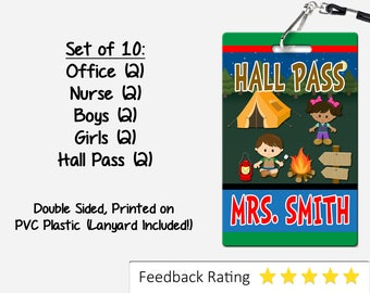 Camping Theme Classroom Hall Passes for Teachers, Personalized, Set of 10