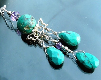 Victorian Turquoise Chandelier necklace vines crown briolettes purple amethyst in sterling silver OOAK jewelry