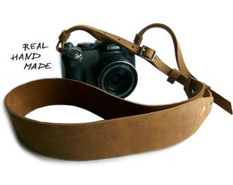 Camera Strap Leather Personalized Gift Men Women Handmade Custom Gift Photographer SLR DSLR Camera Strap Brown Name Initials