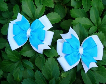 Double Layered 2 Medium Pinwheel Hair Bows Set you Pick your favorite color