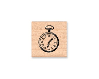 Vintage Pocket Watch Rubber Stamp~Time Piece~Old fashioned clock~Wood Mounted Rubber Stamp~Mountainside Crafts~(17-17)