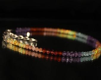 50% off, Multi stone bracelet, multi color bracelet, Opal, amethyst, Sunstone, Apetite, Garnet Bracelet, Sterling silver bracelet 0026