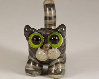 Gray Tabby Cat Lampwork Bead