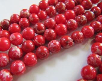"6mm Aqua Terra ""Jasper"" Beads in Red and Cream, 1 Strand, 65 Beads, Round Smooth, Dyed, Soft Onyx Marble, Regalite, Impression Jasper"