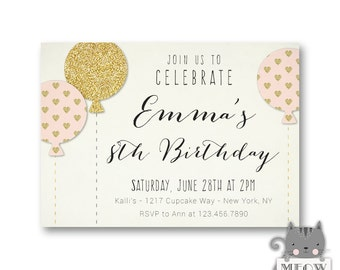 Pink Gold Balloon 8th Birthday Invitations / Girls Birthday Party Invites / 1st 2nd 3rd 4th 5th 6th 7th / Any Age / Printable or Printed 69a