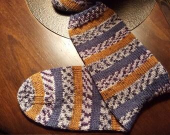 Hand Knit Stripe/Fair Isle Socks