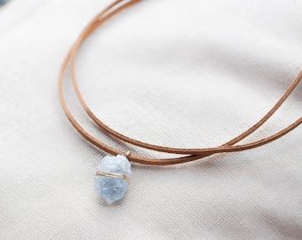 Raw Celestite Choker Necklace Raw Crystal Pendant Blue Crystal Choker Healing Crystal Jewelry Blue Celestite Necklace Celestial Jewelry