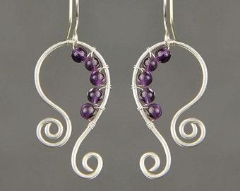 Amethyst sterling silver wiring scroll hoop earring handmade US freeshipping Anni Designs