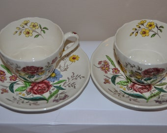 Spode Gainsborough Set of 2 Cups and Saucers Old Mark China  - J36