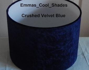Handmade Lampshade - Crushed Velvet Navy Blue Fabric - Drum Bespoke British Midnight Dark