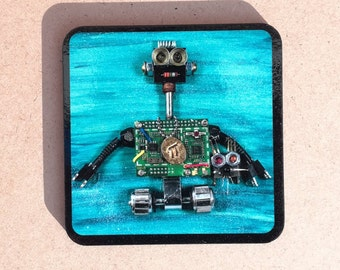 Original Quirky, Colourful Recycled Robot with Pet Turquoise Coaster