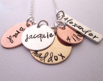 Sweet Family - Hand Stamped Jewelry - Personalized Necklace - Mothers Necklace