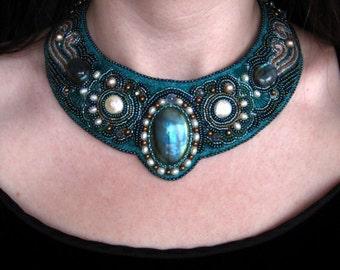 Mermaid Bead Embroidered Necklace, Labradorite Necklace on Etsy--Luxury Bead Embroidery by CircesHouse