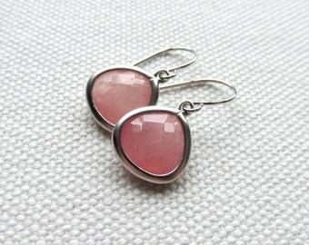 Rose Pink and Silver Earrings Crystal Earrings Stone Drop Dangle Earrings Rose Pink Jewelry