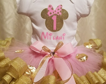 Minnie Mouse Golden Princess tutu set || birthdays || princess outfit || ribbon trimmed tutu skirt || customize || colors can be changed