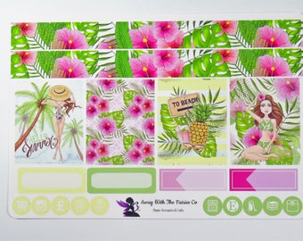 Mini weekly sticker kit, 2 Page Kit made to fit Erin Condren Size Boxes, Planner stickers, Tropical Summer