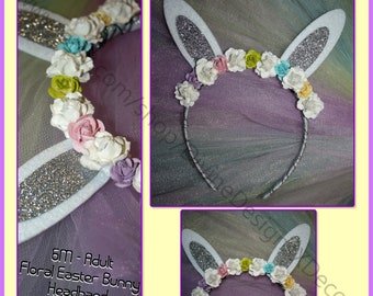 6M - Adult Floral White & Rainbow Easter Bunny Ear Headband Photo Prop