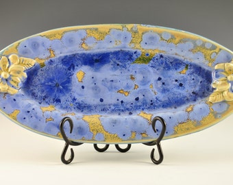 Blue Crystalline Pottery Tray with Flowers