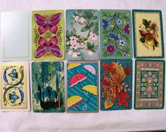 10 Playing cards, Aqua Playing cards, Playing Cards Swap, Playing Cards Lot, Vintage playing cards