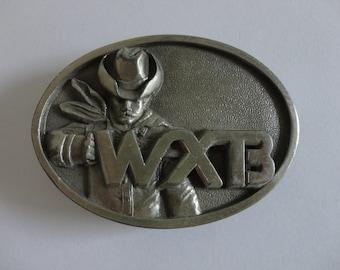 VINTAGE WXTB radio station belt BUCKLE (1985 limited edition)