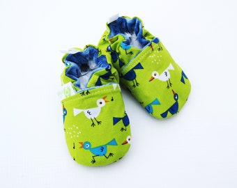 SALE  Small Organic Birds in Lime / All Fabric Soft Sole Shoes / Ready to Ship / Babies