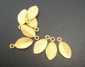 6% off Bulk 24 pcs,12x6mm, 24K Gold On Sterling Silver Tiny Leaf Pendant Charm, PC-0185