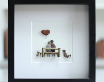 Pebble art, picture of a couple and their dog, unique family gift, birthday, customised family art work, pebble art, pebble art couple