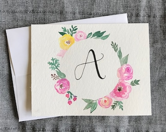 Custom Monogram Greeting Card | Floral wreath
