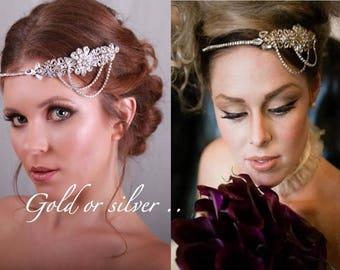 Gatsby headpiece - Bridal headband - 1920s headpiece - Gatsby head piece -1920s Art deco style flapper -headpiece - Wedding Headband