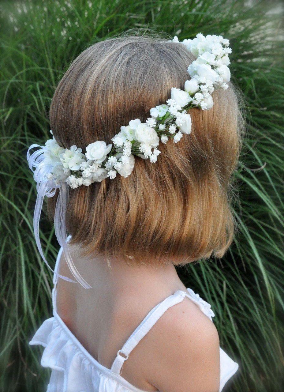 Flower girl wreath first communion floral crown wedding zoom izmirmasajfo Image collections