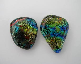 Two Abstract Dichroic Glass Focal Cabochons