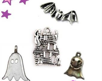 4 charms from 20 to 16 mm bat mouse haunted house ghost silver metal