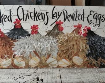 "11"" x 22"" #403 Folk Art Chicken Hens Original Art on Wood"