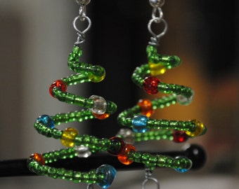Christmas Tree Earrings, Holiday Beaded Jewelry