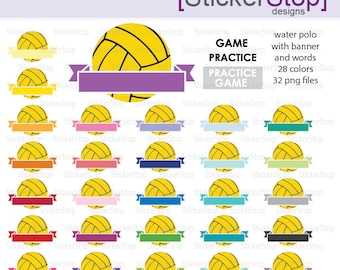 Water Polo Game and Practice Reminder Clipart 28 colors, PNG Digital Clipart - Instant download