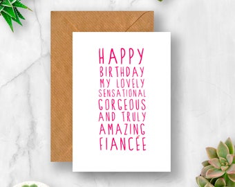 Sweet Description Happy Birthday Fiancee Card, Fiancee Birthday, Card for Fiancee, Fiancee Birthday Card,