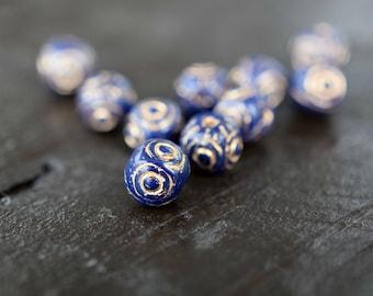 7mm Navy Blue Vintage Czech Glass Beads, 30pcs
