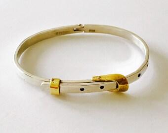 Vintage Sterling Silver Adjustable Belt Latch Hinged Bracelet