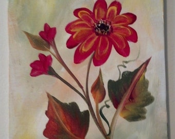 Set of 4 canvases painted Gerbera Daisies