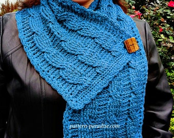 Crochet Pattern for Cable Scarf with Button, Shawl Wrap, PDF 12-068 INSTANT DOWNLOAD